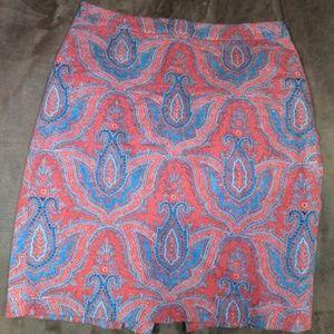 J. CREW No. 2 Pencil Raj Red Paisley Skirt 8